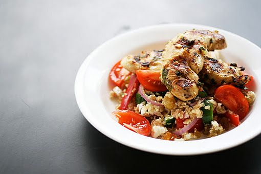 Quinoa Farro Salad with Grilled Lemon Chicken