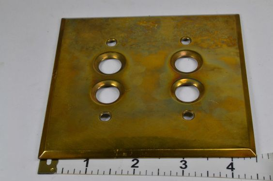 Antique Perkins Push Button 2 Gang Brass Switch Plate Steampunk Industrial 1903 #Perkins