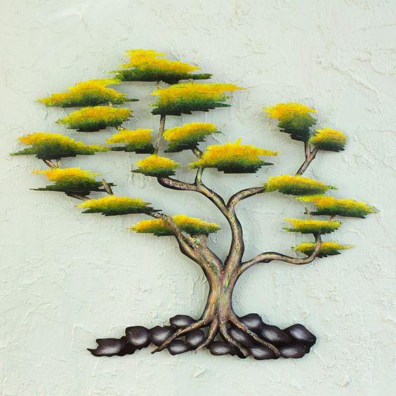 Novica Cypress Tree Indoor Outdoor Patio Garden Green Brown Black Rustic Handcrafted Decor Accent Wall Art