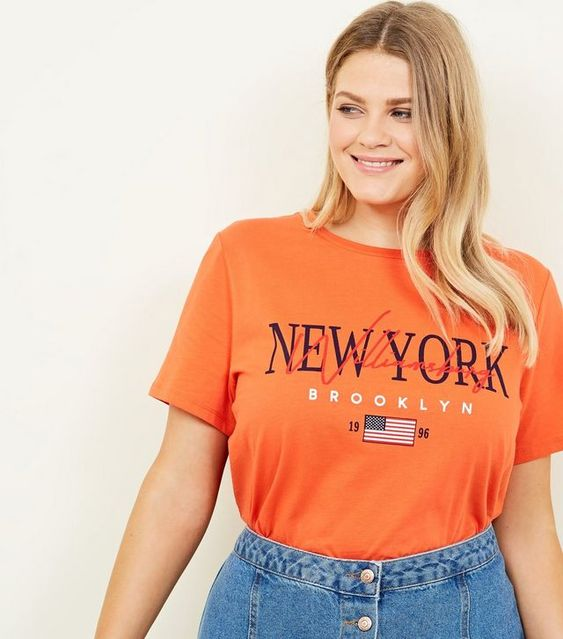 Curves - T-shirt orange vif à slogan New York | New Look