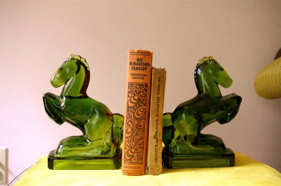 Vintage Green Glass Horse Bookends | Bookends, Horses and ...