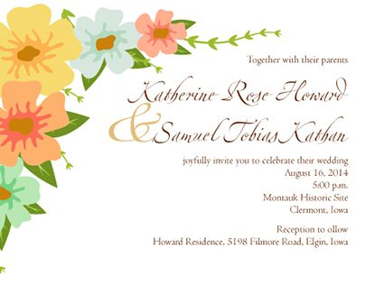 Wedding stationary I did for my wedding in 2014.  We printed the flowers on glasses for party favors.