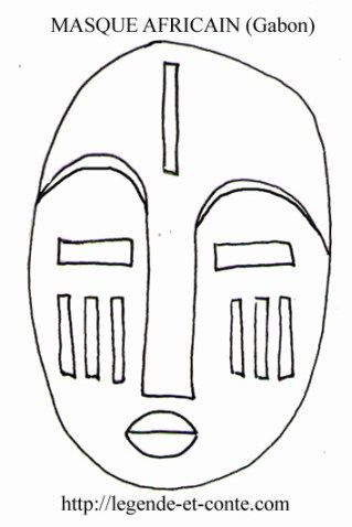 Coloriage masque africain fang du gabon bricolage - Dessin de masque africain ...