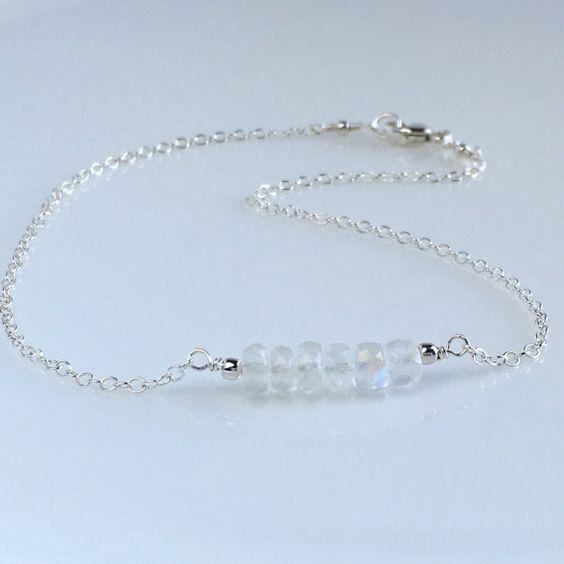 Moonstone Anklet Delicate Silver Anklet by AustinDowntoEarth