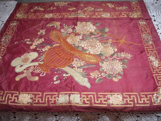 ANTIQUE CHINESE SILK HAND EMBROIDERY CEREMONIAL SKIRT PANEL BIRDS FLORAL