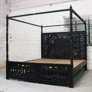 Dynasty Hand Carved Indian Wooden 4 Post Bed Frame Black Black