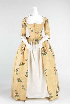1740 - 50s yellow silk gown.  Remodeled