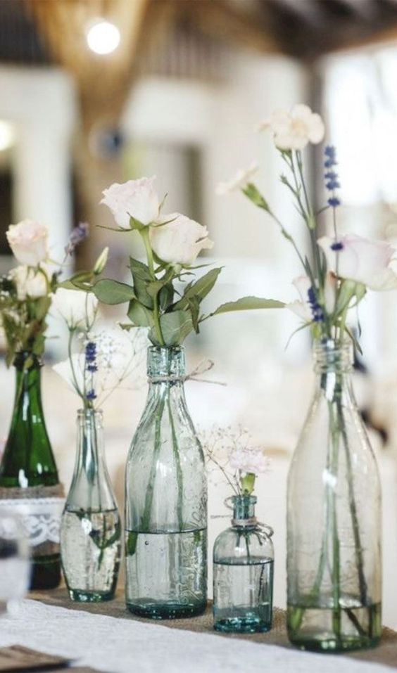 Simple DIY Wedding Decor Idea With Bottles And White Roses