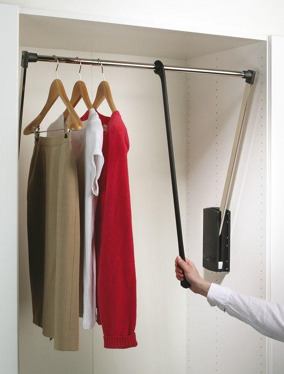 LIFT PULL DOWN WARDROBE RAIL CLOTHES HANGER ADJUSTABLE 600 X 830 MM