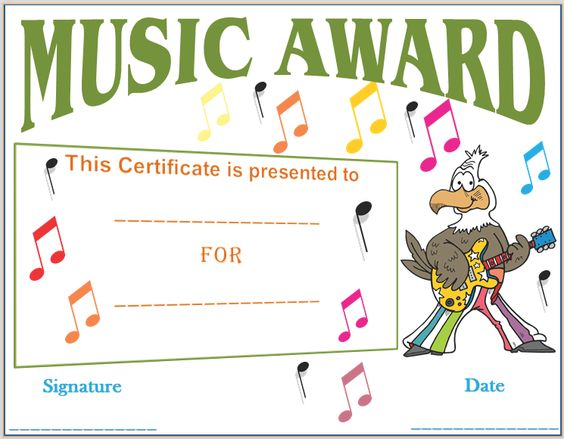Musical Notes Award Certificate Template a Pinterest - award certificate template