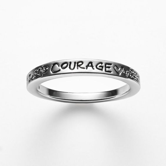 Silver-Plated ''Courage'' Ring (Grey) ($35) ❤ liked on Polyvore