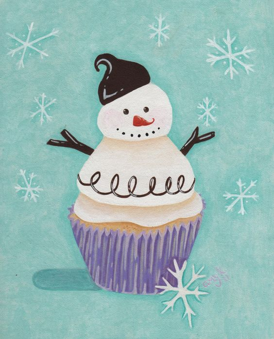Snowman Cupcake Art by Amy Kenyon