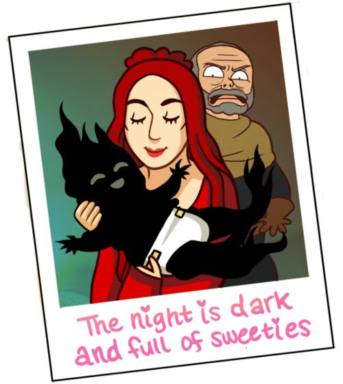 """Melisandre, her """"baby"""" and Davos"""