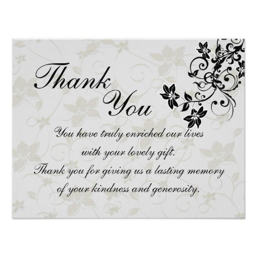 Black and Silver Floral Wedding Thank You Card Personalized Invites