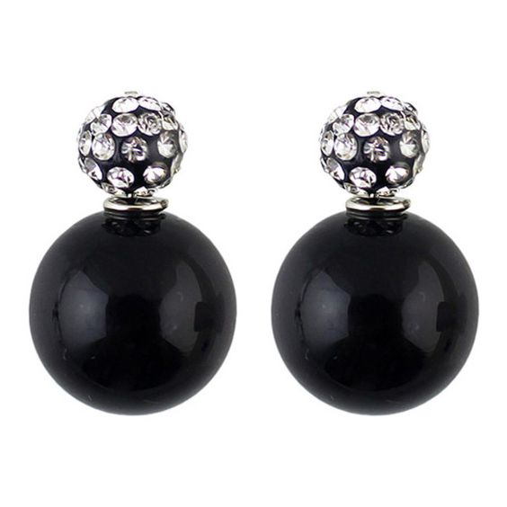 Double Ended Faux Pearl Rhinestone Earrings (£3.77) ❤ liked on Polyvore featuring jewelry, earrings, brincos, black, round earrings, earring jewelry, oversized jewelry, fake pearl earrings and fake pearl jewelry