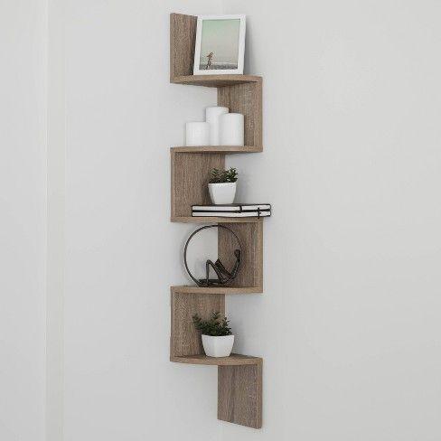 Zig Zag Corner Shelf Weathered Oak Corner Shelves Floating