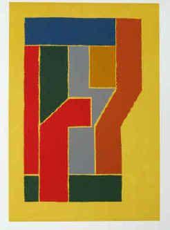 """Josua Reichert - """"Nach einem alten Entwurf"""" (Buchstabe F, 1997). Original Typographie in sechs Farben . Linolschnitt von Josua Reichert signiert."""