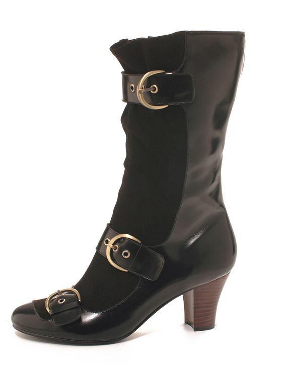 Modèle CAMERON noir bottines à boucles - Camille Daurel design pour Mellow Yellow hiver 07-08