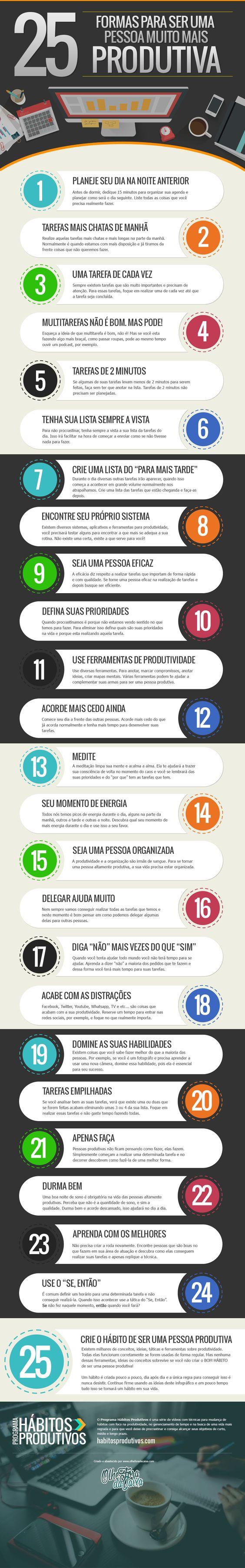 25 formas para ser uma pessoa muito mais produtiva: