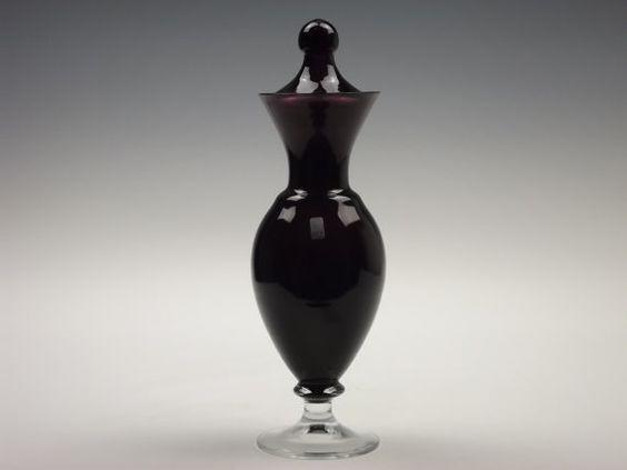 Ryd Glasbruk Swedish amethyst pedestal glass apothecary jar