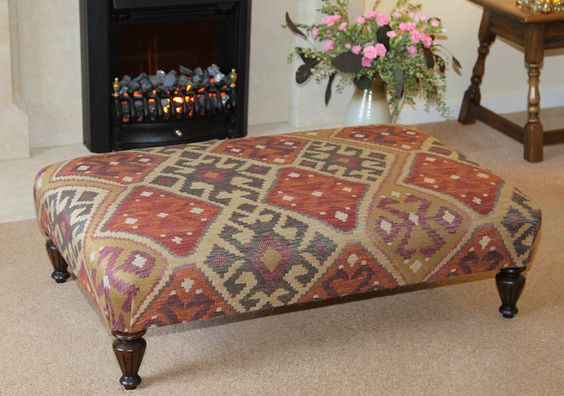 Large table stool upholstered in Linwood Kuba kilim fabric.