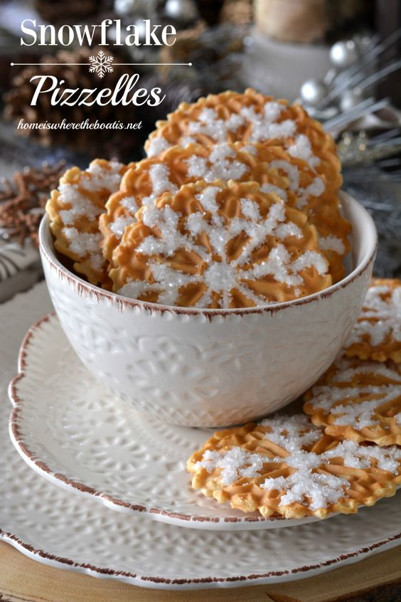 Easy Snowflake Pizzelles | homeiswheretheboatis.net #winter #cookie