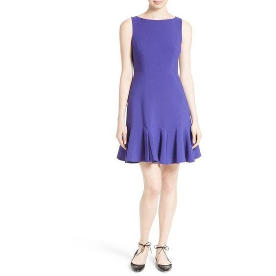 Women's Kate Spade New York Crepe Flounce Hem Fit & Flare Dress ($328) ❤ liked on Polyvore featuring dresses, nightlife blue, flared skirt, ruffle hem dress, blue ruffle dress, ruffle dress and kate spade dresses