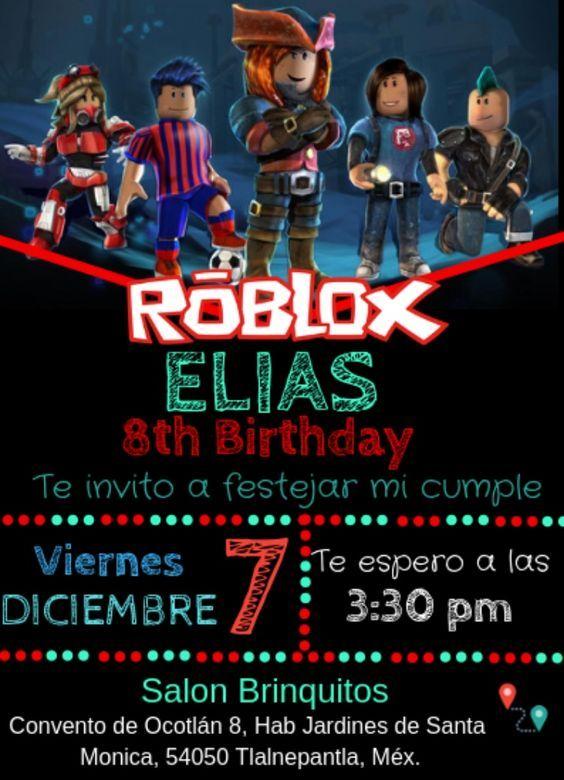 Invitaciones Para Fiesta Tematica De Roblox Para Niños - free robux account home facebook