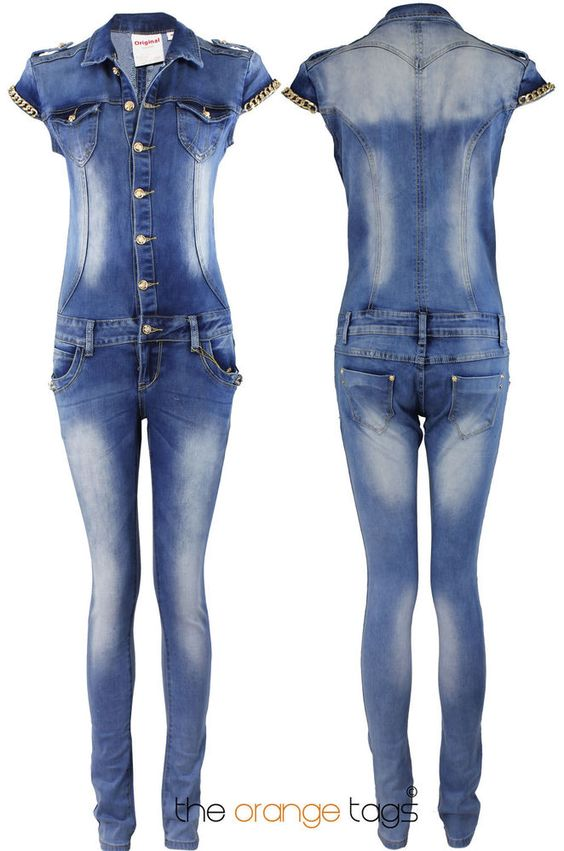 Details about VINTAGE LADIES 70'S DENIM JUMPSUIT WOMENS JEANS ...