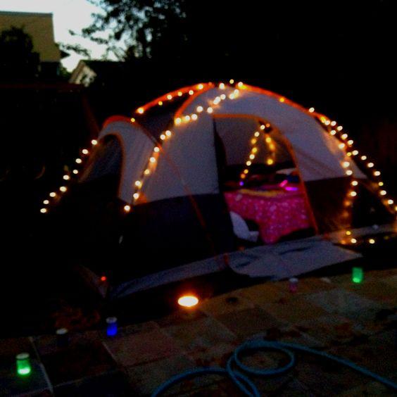 Backyard Twinkle Lights: Backyard Camping... Love The Twinkle Lights!