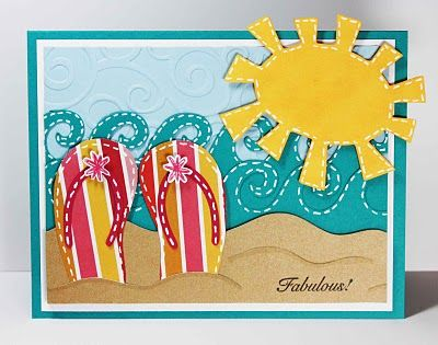 Cricut Summer/Beach Card. Doodlecharms, Paper Dolls for Everyday and Life's A Beach Cartridges.  *