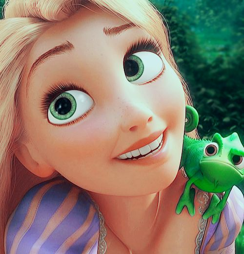 Rapunzel. I love her and that little guy!!! Especially that part where he punches his hand at Flynn :) lol: Disney Tangled, Disney Movies, Disney Princesses, Disney S Tangled, Eyes Rapunzel, Disney Pixar, Green Eyes, Disney Challenge