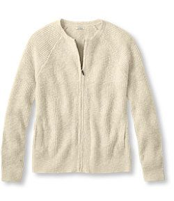 #LLBean: Cotton Shaker Stitch Sweater, Zip Cardigan