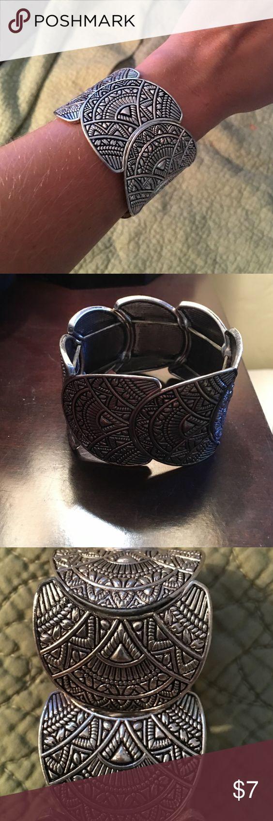 Statement Cuff Bracelet Excellent condition, cute Aztec design. Jewelry Bracelets