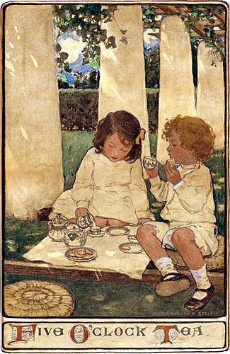 """Jessie Willcox Smith [American illustrator.1863 -1935]. Famous for her illustrations in magazines and children's books.  Mixed media on illustration board  24 by 16 in  """"The Child in a Garden"""" series Scribner's  magazine, Dec. 1903, Page 685: books.google.com/books?id=710AAAAAYAAJ&lr=&pg=PP1... ___  Restoration by plumleaves:"""