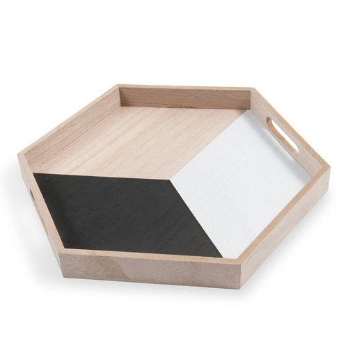 Plateau octogonal en bois noir/blanc 35 x 40 cm BLACKSTAGE