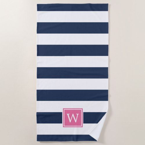 Navy Stripe Pink Monogram Beach Towel Zazzle Com Monogrammed