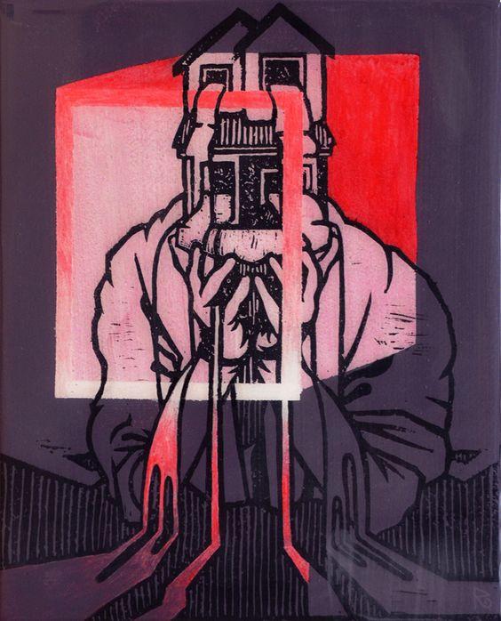 Reuben Kambeitz -  HOME FLAG VI, 2015 Acrylic & Archival Ink Linocut on Paper Epoxy Overcoat 10˝ × 8˝