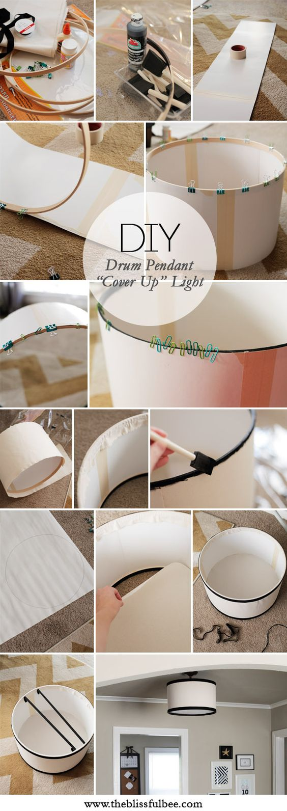 """DIY """"cover up"""" Drum Pendant Light to cover up that builder basic light fixture  