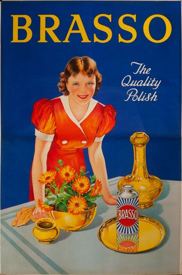 1930s Brasso metal polish British vintage advert poster