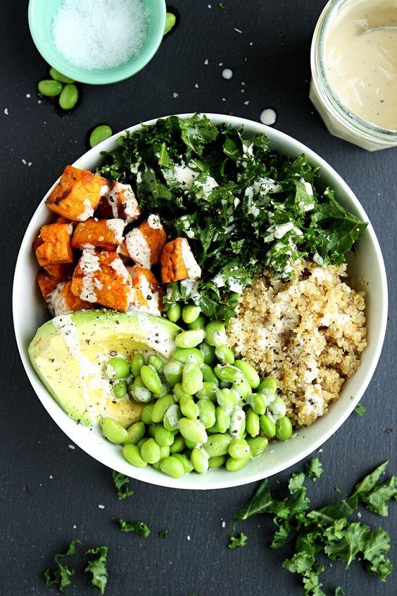 Sweet Potato Buddha Bowl Recipe with Kale and Quinoa