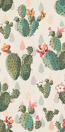 Seamless cute cactus print pattern background