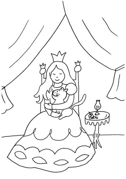 Prinzessin Prinzessin Und Katze Zum Ausmalen Katze Zum Ausmalen Ausmalbilder Prinzessin Ausmalbilder