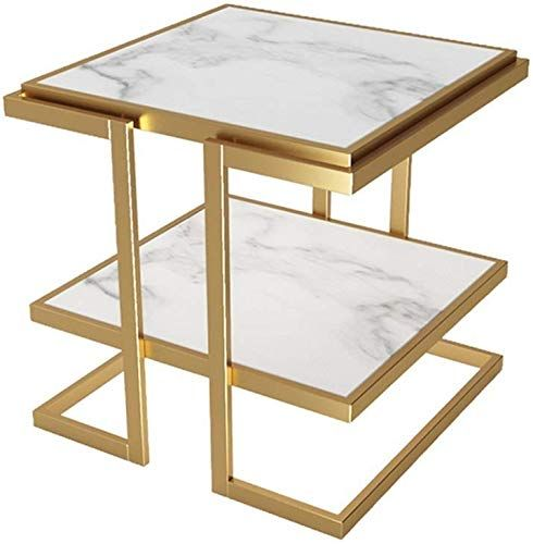Enjoy Exclusive For Jolly 2 Tier Side Table Storage Shelf Living Room Faux Marble Metal Frame Color White Online In 2020 Small Apartment Coffee Table Coffee Table Living Room Coffee Table