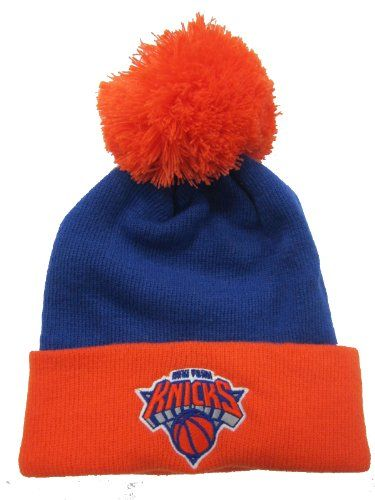 New York Knicks Blue / Orange Cuffed Pom Knit Cap / Beanie - http://bignbastore.com/nba-winter-attire/new-york-knicks-blue-orange-cuffed-pom-knit-cap-beanie