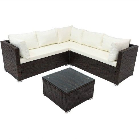 Port Laoise Rattan Sectional Sofa Patio Furniture Set Sunnydaze Decor Target Sectional Patio Furniture Outdoor Sectional Sofa Sunnydaze Decor