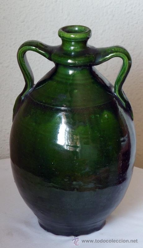 CANTARO VIDRIADO EN VERDE Y CON DOS ASAS LATERALES (Antigüedades - Porcelanas y Cerámicas - España - Cántaros Antiguos)