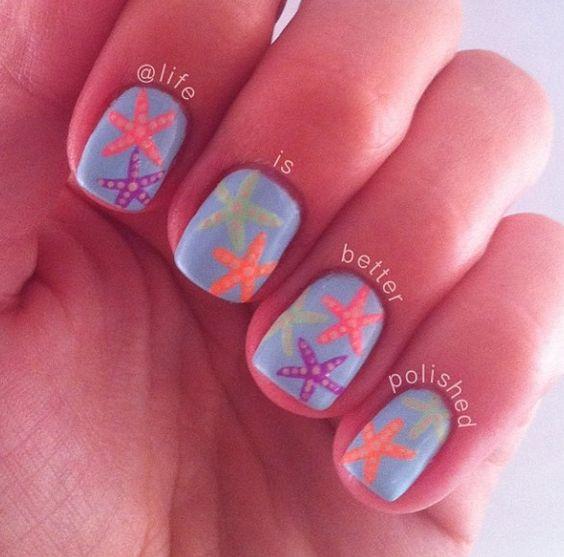 Starfish, Nails and Nail art on Pinterest