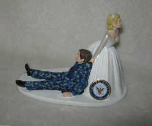 Amazon.com: Navy Military Blue Camo humorous Wedding Cake Topper: Everything Else