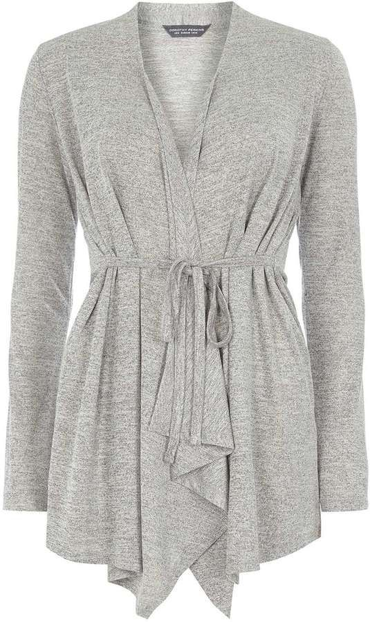 **Tall Grey belted waterfall cardigan